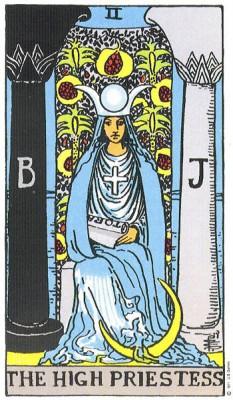 The High Priestess in Rider Waite Tarot