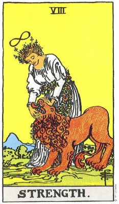 Strength in Rider Waite Tarot