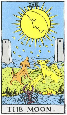 The Moon in Rider Waite Tarot
